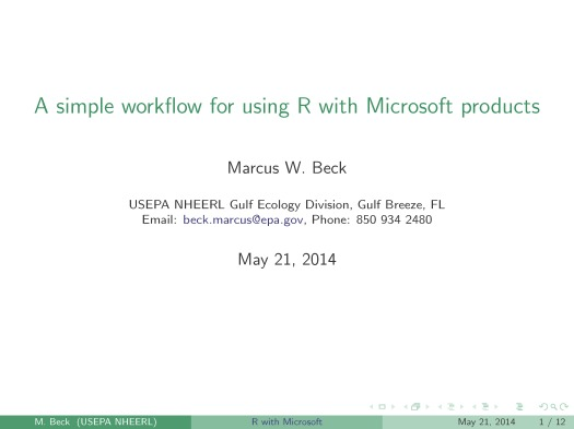 A simple workflow for using R with Microsoft Office products